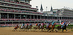 LOUISVILLE, KY - MAY 04: Monomoy Girl #14, ridden by jockey Florent Geroux wins the Longines Kentucky Oaks at Churchill Downs on May 4, 2018 in Louisville, Kentucky. the Kentucky Oaks at Churchill Downs on May 4, 2018 in Louisville, Kentucky. (Photo by Mary Meeks/Eclipse Sportswire/Getty Images)