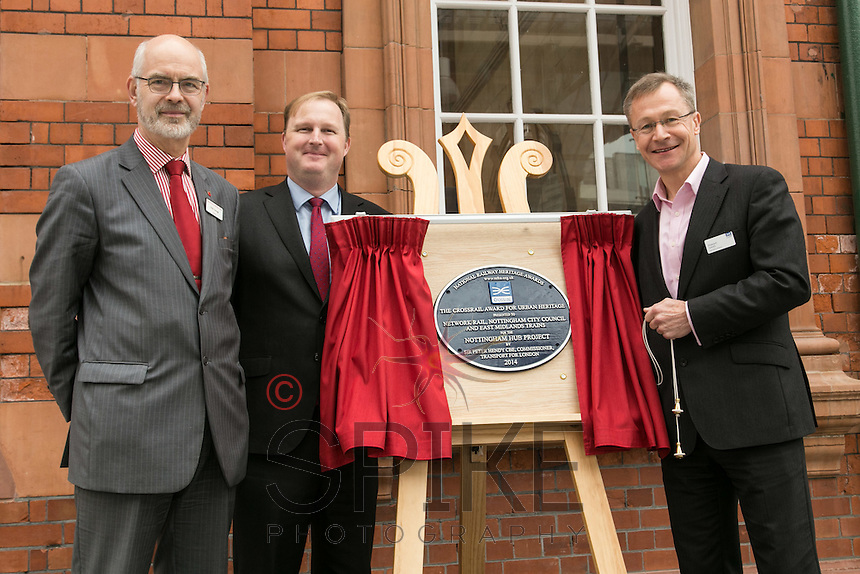 Pictured at the unveiling of The Crossrail Award for Urban Heritage at Nottingham Station are from left, Andy Savage, Trustee of the National Railway Heritage Awards, Jake Kelly, Managing Director of East Midlands Trains and Howard Smith, Operations Director for Crossrail