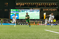 Portland, Oregon - Wednesday September 25, 2019: Jeremy Ebobisse #17 looks to control the ball during a regular season game between Portland Timbers and New England Revolution at Providence Park on September 25, 2019 in Portland, Oregon.