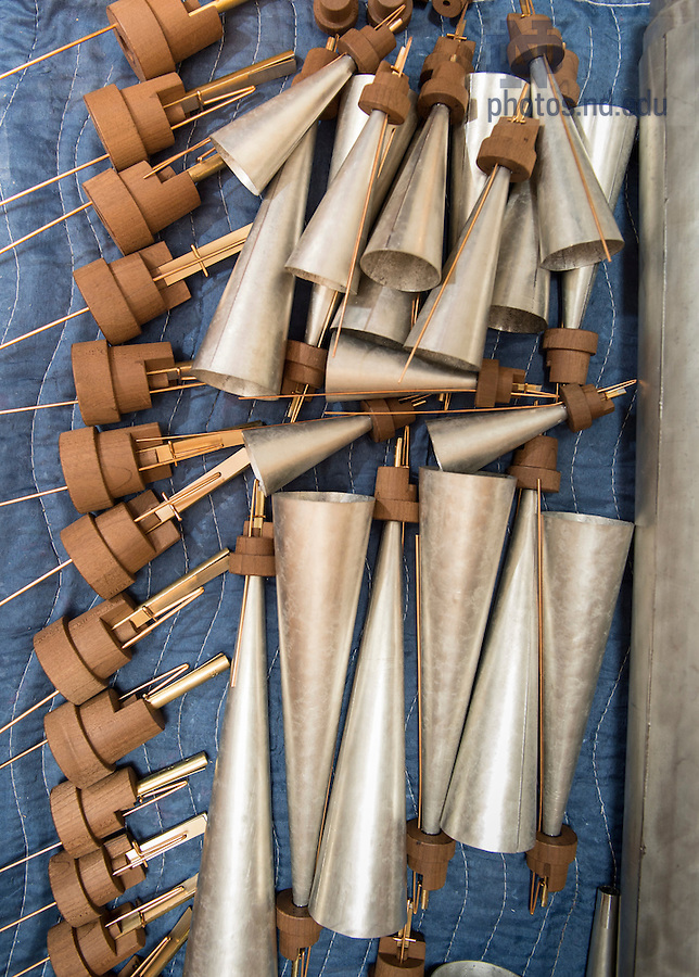 July 13, 2016; These trumpet pipes, named for the trumpet-like quality of their sound, offer an example of reed pipes, which function more like a clarinet, oboe or saxophone than the whistle-like flue pipes. (Photo by Barbara Johnston/University of Notre Dame)