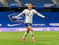 LE HAVRE, FRANCE - APRIL 13: Christen Press #23 of the USWNT calls for the ball during a game between France and USWNT at Stade Oceane on April 13, 2021 in Le Havre, France.