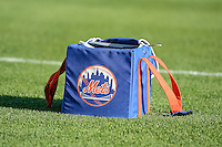 A New York Mets ball bag sits on the field of the Salt Lake Bees before the game against the Las Vegas 51s in Pacific Coast League action at Smith's Ballpark on June 25, 2015 in Salt Lake City, Utah.  Las Vegas defeated the Bees 20-8. (Stephen Smith/Four Seam Images)