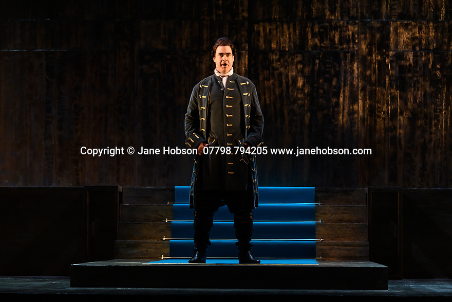 "London, UK. 04.03.2020. English Touring Opera presents ""Giulio Cesare"", by George Friderich Handel, at the Hackney Empire, prior to going on tour in the UK. Directed by James Conway, with design by Cordelia Chisholm and lighting design by Mark Howland. The Old Street Band is conducted by Jonathan Peter Kenny. The cast is: Clint van der Linde (Giulio Cesare), Susanna Hurrell (Cleopatra), Paul-Antoine Benos-Djian (Tolomeo), Ann Taylor, (Cornelia), Kitty Whately (Sesto), Edward Hawkins (Achilla), Alexander Simpson (Nireno), Bradley Travis (Curio). Photograph © Jane Hobson."