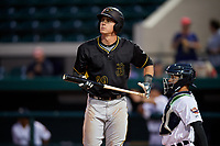 Bradenton Marauders designated hitter Lucas Tancas (29) and catcher Andres Sthormes (37) during the second game of a doubleheader against the Lakeland Flying Tigers on April 11, 2018 at Publix Field at Joker Marchant Stadium in Lakeland, Florida.  Bradenton defeated Lakeland 1-0.  (Mike Janes/Four Seam Images)