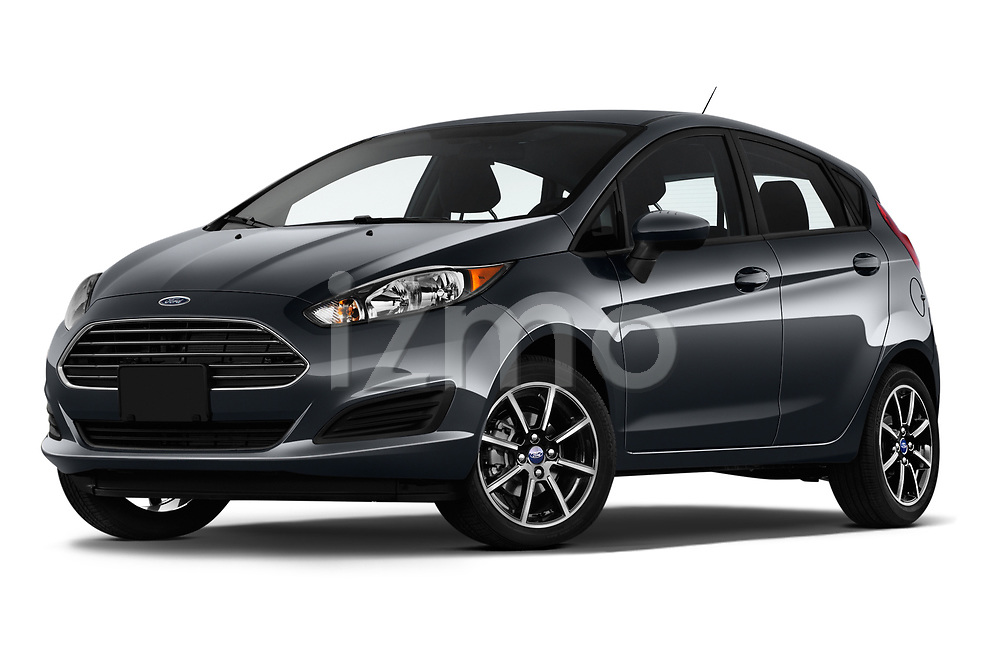 Stock pictures of low aggressive front three quarter view of a 2019 Ford Fiesta SE 5 Door Hatchback