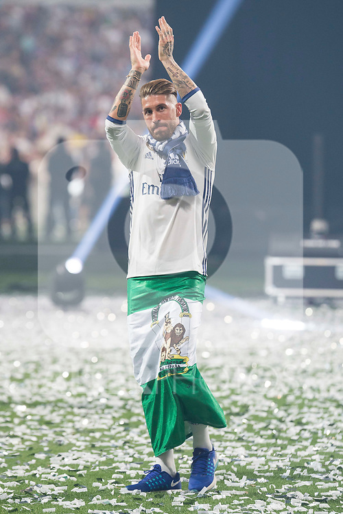Real Madrid Sergio Ramos during the celebration of the 13th UEFA Championship at Santiago Bernabeu Stadium in Madrid, June 04, 2017. Spain.<br /> (ALTERPHOTOS/BorjaB.Hojas)
