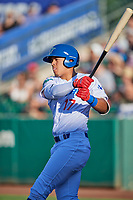 Romer Cuadrado (17) of the Ogden Raptors bats against the Orem Owlz in Pioneer League action at Lindquist Field on June 27, 2017 in Ogden, Utah. Ogden defeated Orem 14-5. (Stephen Smith/Four Seam Images)