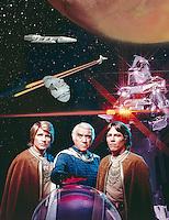 Battlestar Galactica TV Show (L to R): Dirk Benedict, Loren Greene, RIchard Hatch, 1978. Photographer John G. Zimmerman