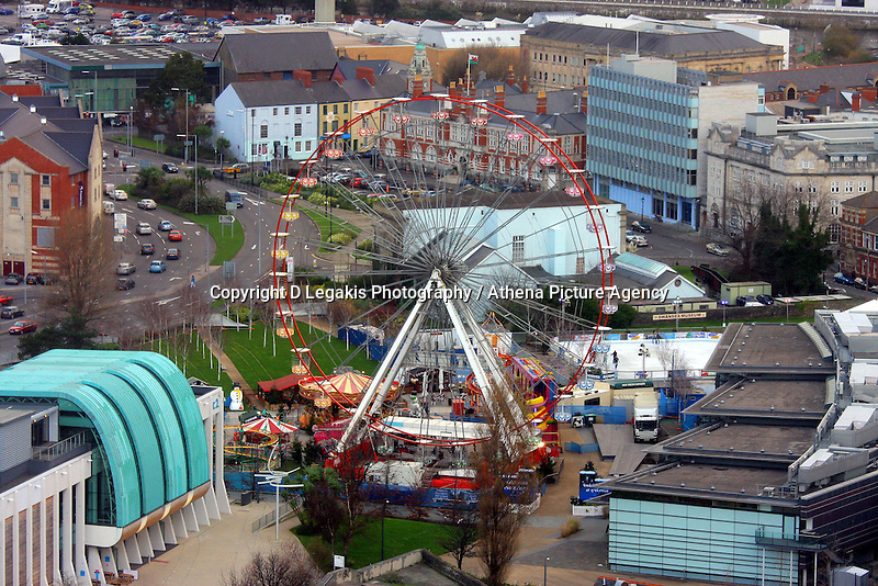 Pictured: Winterland Wonderland winter wonderland ferris wheel morgan's hotel Evening Post general view of Swansea as seen from the Penthouse restaurant<br />