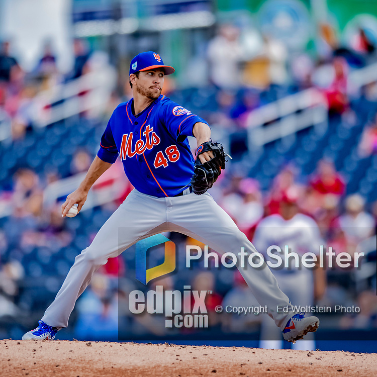 7 March 2019: New York Mets starting pitcher Jacob deGrom on the mound during a Spring Training Game against the Washington Nationals at the Ballpark of the Palm Beaches in West Palm Beach, Florida. The Nationals defeated the visiting Mets 6-4 in Grapefruit League, pre-season play. Mandatory Credit: Ed Wolfstein Photo *** RAW (NEF) Image File Available ***
