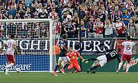 Foxborough, Massachusetts - July 5, 2017: First half action. In a Major League Soccer (MLS) match, New England Revolution (blue/white) vs New York Red Bulls (white), at Gillette Stadium.