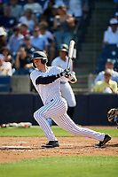 New York Yankees left fielder Zach Zehner (93) hits a single during a Grapefruit League Spring Training game against the Toronto Blue Jays on February 25, 2019 at George M. Steinbrenner Field in Tampa, Florida.  Yankees defeated the Blue Jays 3-0.  (Mike Janes/Four Seam Images)