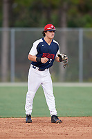 Zachary Rodriguez (2) during the WWBA World Championship at the Roger Dean Complex on October 10, 2019 in Jupiter, Florida.  Zachary Rodriguez attends Vista Murrieta High School in Murrieta, CA and is committed to UC Santa Barbara.  (Mike Janes/Four Seam Images)