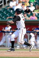 Lansing Lugnuts outfielder Chris Hawkins (7) during a game against the Dayton Dragons on August 25, 2013 at Cooley Law School Stadium in Lansing, Michigan.  Dayton defeated Lansing 5-4 in 11 innings.  (Mike Janes/Four Seam Images)