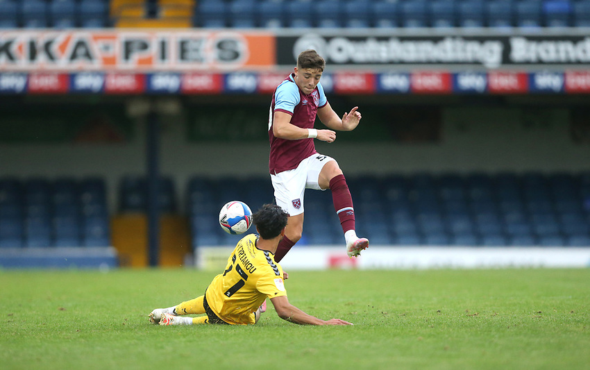 West Ham United's Harrison Ashby and Southend United's Harry Kyprianou<br /> <br /> Photographer Rob Newell/CameraSport<br /> <br /> EFL Trophy Southern Section Group A - Southend United v West Ham United U21 - Tuesday 8th September 2020 - Roots Hall - Southend-on-Sea<br />  <br /> World Copyright © 2020 CameraSport. All rights reserved. 43 Linden Ave. Countesthorpe. Leicester. England. LE8 5PG - Tel: +44 (0) 116 277 4147 - admin@camerasport.com - www.camerasport.com
