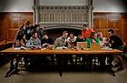 "Nov. 4, 2013; Students re-interpret the Leonardo DaVinci painting ""The Last Supper"" in South Dining Hall.<br /> <br /> Photo by Matt Cashore/University of Notre Dame"