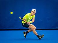 Amstelveen, Netherlands, 18  December, 2020, National Tennis Center, NTC, NK Indoor, National  Indoor Tennis Championships,   : Jesper de Jong (NED) <br /> Photo: Henk Koster/tennisimages.com