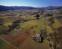 aerial photograph of the Napa Valley in fall along the Silverado Highway toward Mount Saint Helena