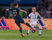 PARIS,  - JUNE 28: Gaëtane Thiney #17 is defended by Becky Sauerbrunn #4 during a game between France and USWNT at Parc des Princes on June 28, 2019 in Paris, France.