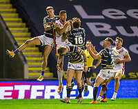 13th November 2020; The Halliwell Jones Stadium, Warrington, Cheshire, England; Betfred Rugby League Playoffs, Catalan Dragons versus Leeds Rhinos; Israel Folau of Catalans Dragons catches the forward ball to score a third try