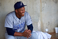 Pensacola Blue Wahoos starting pitcher Keury Mella (34) in the dugout before a game against the Birmingham Barons on May 8, 2018 at Regions Field in Birmingham, Alabama.  Birmingham defeated Pensacola 5-2.  (Mike Janes/Four Seam Images)