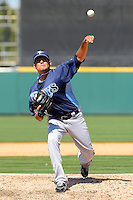 Tampa Bay Rays pitcher Cesar Ramos #27 during a Spring Training game against the Detroit Tigers at Joker Marchant Stadium on March 29, 2013 in Lakeland, Florida.  (Mike Janes/Four Seam Images)