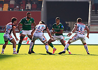 9th October 2021; Brentford Community Stadium, Brentford, London; Gallagher Premiership Rugby, London Irish versus Leicester Tigers; Ben Loader of London Irish tackled by Harry Wells and Hanro Liebenberg of Leicester Tigers