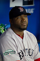 Boston Red Sox designated hitter David Ortiz #34 before an American League game against the Toronto Blue Jays at Rogers Centre on June 3, 2012 in Toronto, Ontario.  (Mike Janes/Four Seam Images)
