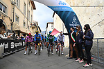 The leaders jerseys lined up for the start of Stage 2 of Tirreno-Adriatico Eolo 2021, running 202km from Camaiore to Chiusdino, Italy. 11th March 2021. <br /> Photo: LaPresse/Gian Mattia D'Alberto | Cyclefile<br /> <br /> All photos usage must carry mandatory copyright credit (© Cyclefile | LaPresse/Gian Mattia D'Alberto)