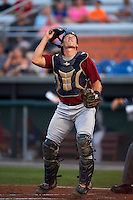 Mahoning Valley Scrappers catcher Daniel Salters (12) looks for a foul ball popup during a game against the Auburn Doubledays on September 4, 2015 at Falcon Park in Auburn, New York.  Auburn defeated Mahoning Valley 5-1.  (Mike Janes/Four Seam Images)