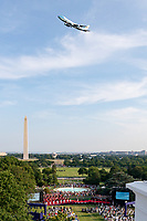 Salute to America 2020<br /> <br /> Air Force One flies above the White House Saturday evening, July 4, 2020, during the Salute to America 2020, Fourth of July at the White House celebration. (Official White House Photo by Carlos Fyfe)