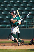 Justin Harrer (48) of the Greensboro Grasshoppers follows through on his swing against the Hickory Crawdads at L.P. Frans Stadium on May 26, 2019 in Hickory, North Carolina. The Crawdads defeated the Grasshoppers 10-8. (Brian Westerholt/Four Seam Images)