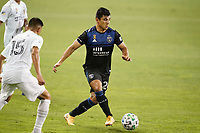 SAN JOSE, CA - SEPTEMBER 13: Nick Lima #24 of the San Jose Earthquakes passes the ball during a game between Los Angeles Galaxy and San Jose Earthquakes at Earthquakes Stadium on September 13, 2020 in San Jose, California.