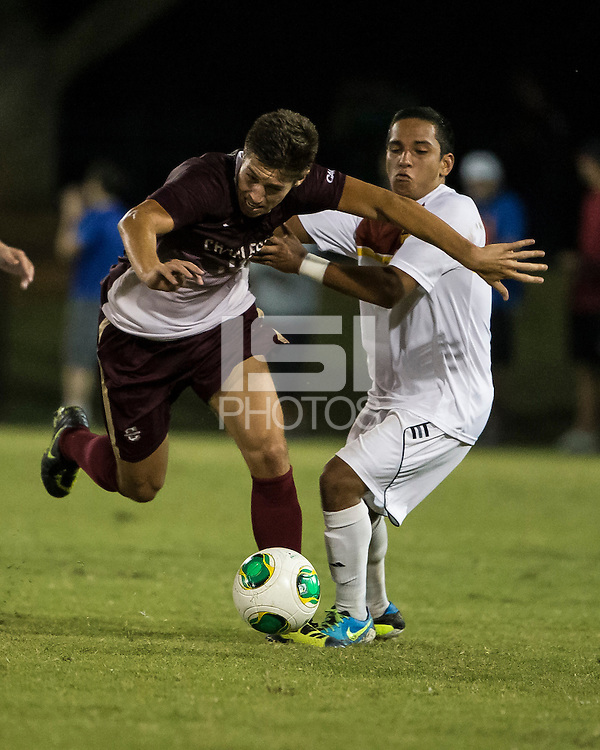 The Winthrop University Eagles played the College of Charleston Cougars at Eagles Field in Rock Hill, SC.  College of Charleston broke the 1-1 tie with a goal in the 88th minute to win 2-1.  C.J. Miller (5), Jake Currie (10)