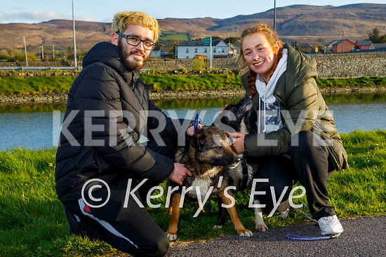 Enjoying a stroll on the canal in Blennerville on Monday, l to r: Mark Ryle and Lauren Scannell with Levi and Boots the dogs.