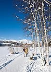 Austria, Tyrol, international Wintersport Resort Seefeld: Winter walk along frozen Wild Lake, Wetterstein mountains at background