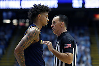 CHAPEL HILL, NC - NOVEMBER 06: Prentiss Hubb #3 of the University of Notre Dame talks with official Roger Ayers during a game between Notre Dame and North Carolina at Dean E. Smith Center on November 06, 2019 in Chapel Hill, North Carolina.