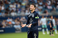 KANSAS CITY, KS - AUGUST 10: Ilie Sanchez during a game between Club Leon and Sporting Kansas City at Children's Mercy Park on August 10, 2021 in Kansas City, Kansas.
