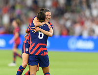 AUSTIN, TX - JUNE 16: Lynn Williams #6 of the United States celebrates her goal in the second half with Christen Press #23 during a game between Nigeria and USWNT at Q2 Stadium on June 16, 2021 in Austin, Texas.