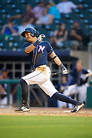 Northwest Arkansas Naturals first baseman Mauricio Ramos (3) follows through on a swing during a game against the Midland RockHounds on May 27, 2017 at Arvest Ballpark in Springdale, Arkansas.  NW Arkansas defeated Midland 3-2.  (Mike Janes/Four Seam Images)