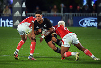 New Zealand's Quinn Tupaea is tackled during the Steinlager Series rugby match between the New Zealand All Blacks and Tonga at Mt Smart Stadium in Auckland, New Zealand on Saturday, 3 July 2021. Photo: Dave Lintott / lintottphoto.co.nz