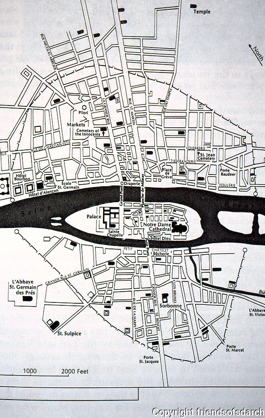 Paris: 13th Century Plan. Willis, WESTERN CIVILIZATION.  Reference only.