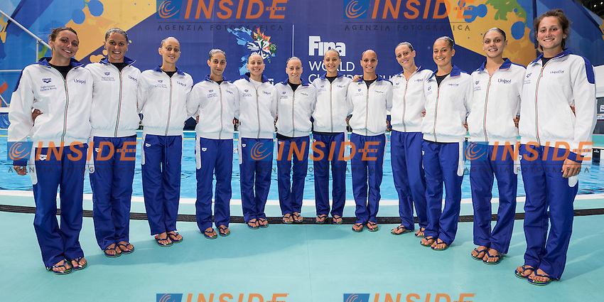 Team Italy<br /> BOZZO Elisa CALLEGARI Beatrice<br /> CATTANEO Camilla DEIDDA Francesca<br /> FLAMINI Manila GALLI Gemma<br /> PERRUPATO Mariangela SGARZI Sara<br /> MUSSO Viola Reserve<br /> PEZONE Alessia<br /> Day9 01/87/2015<br /> XVI FINA World Championships Aquatics<br /> Synchro<br /> Kazan Tatarstan RUS July 24 - Aug. 9 2015 <br /> Photo Giorgio Scala/Deepbluemedia/Insidefoto