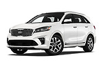 Stock pictures of low aggressive front three quarter view of a 2019 KIA Sorento SX Limited 5 Door SUV