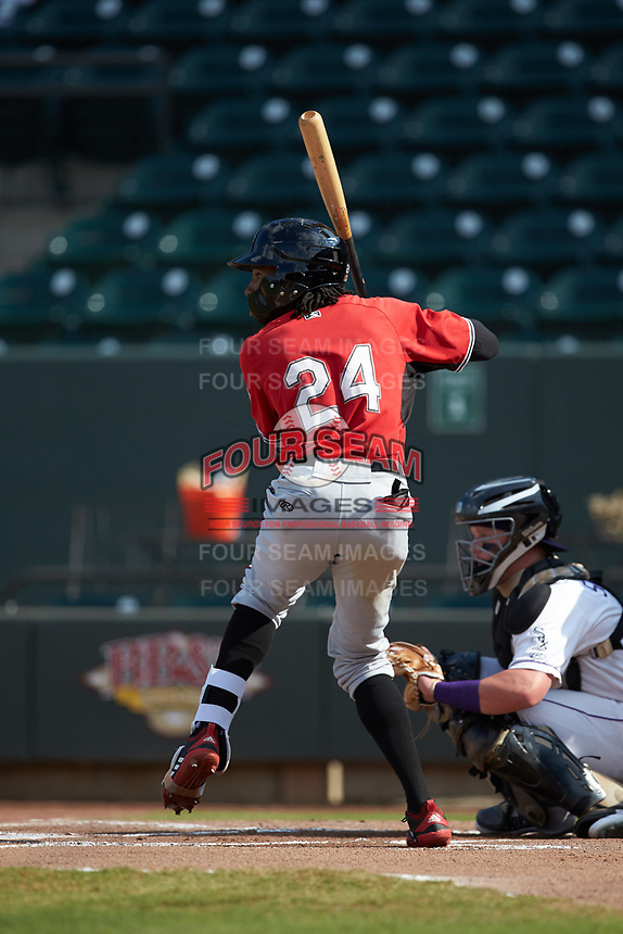 Wes Rogers (24) of the Carolina Mudcats at bat against the Winston-Salem Dash at BB&T Ballpark on June 1, 2019 in Winston-Salem, North Carolina. The Mudcats defeated the Dash 6-3 in game one of a double header. (Brian Westerholt/Four Seam Images)