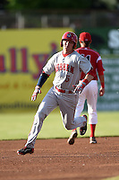 Auburn Doubledays outfielder Drew Vettleson (5), on rehab assignment, runs the bases after hitting a triple during a game against the Batavia Muckdogs on June 14, 2014 at Dwyer Stadium in Batavia, New York.  Batavia defeated Auburn 7-2.  (Mike Janes/Four Seam Images)