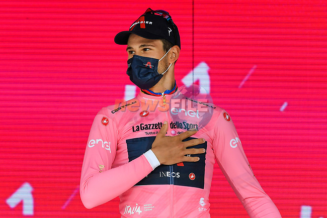 World Champion Filippo Ganna (ITA) Ineos Grenadiers wins Stage 1 and wears the first leaders Maglia Rosa of the 2021 Giro d'Italia, and individual time trial running 8.6km around Turin, Italy. 8th May 2021.  <br /> Picture: LaPresse/Fabio Ferrari | Cyclefile<br /> <br /> All photos usage must carry mandatory copyright credit (© Cyclefile | LaPresse/Fabio Ferrari)
