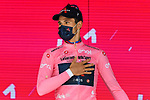 World Champion Filippo Ganna (ITA) Ineos Grenadiers wins Stage 1 and wears the first leaders Maglia Rosa of the 2021 Giro d'Italia, and individual time trial running 8.6km around Turin, Italy. 8th May 2021.  <br /> Picture: LaPresse/Fabio Ferrari   Cyclefile<br /> <br /> All photos usage must carry mandatory copyright credit (© Cyclefile   LaPresse/Fabio Ferrari)
