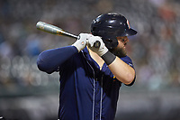 Cameron Rupp (26) of the Toledo Mud Hens at bat against the Charlotte Knights at BB&T BallPark on April 24, 2019 in Charlotte, North Carolina. The Knights defeated the Mud Hens 9-6. (Brian Westerholt/Four Seam Images)