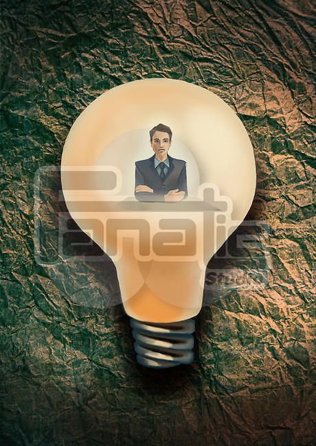 Illustrative image of professional male consultant in bulb